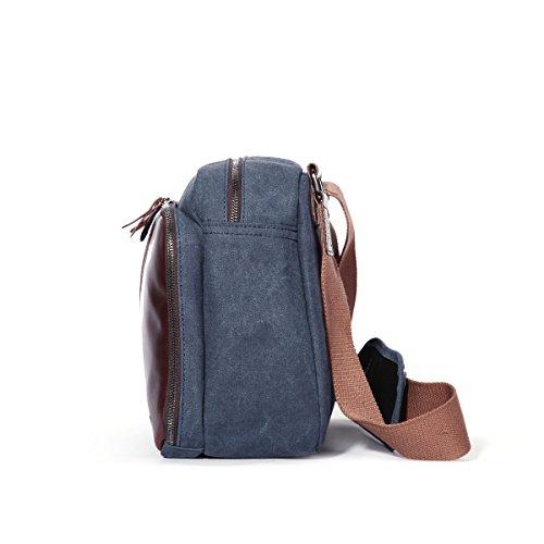 Eshow Borse a tracolla da uomo di tela a mano Multifunzione per viaggio borsa shopper bag shopping trekking blu