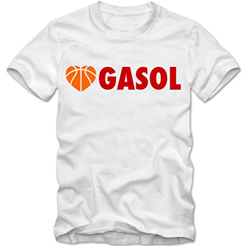 Shirt Gasol Pau (Herren T-Shirt Love Gasol Spanien Spain Espana Basketball EM 2015 Pau, Farbe:weiss / rot;Größe:XXXL)