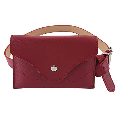 Rot Leder Mode (CHIC DIARY Wasserdicht abziehbar Gürteltasche Mode Gürtel mit Bauchtasche aus PU Leder in Rot)