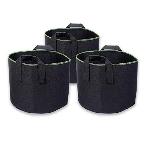 Schramm® 3 Stück 60 Liter Pflanzsäcke aus Vliesstoff Pflanzsack 3 Stück Garten Sack aus Fliesstoff zum Bepflanzen Pflanzgefäß Pflanzbehälter Pflanzbeutel 3er Pack