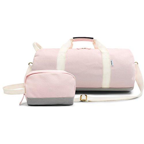 Oflamn Borsa da Viaggio in Tela per Donna e Uomo - Borsa da Palestra Sportiva - Travel Duffel Bag & Sports Gym Bag (1.0 rosa)