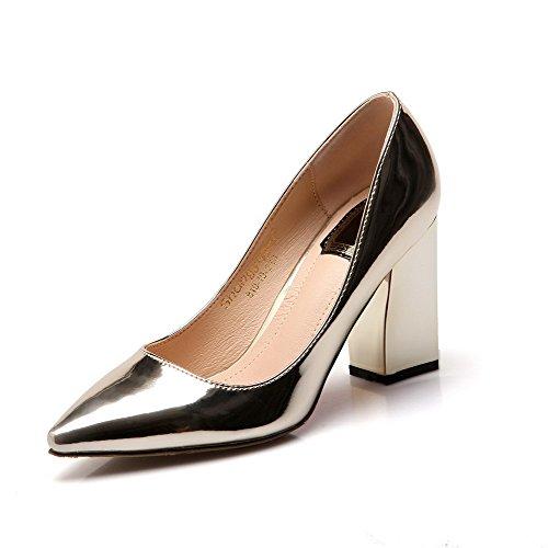 VogueZone009 Damen Hoher Absatz Rein Ziehen Auf Lackleder Spitz Zehe Pumps Schuhe, Golden, 41