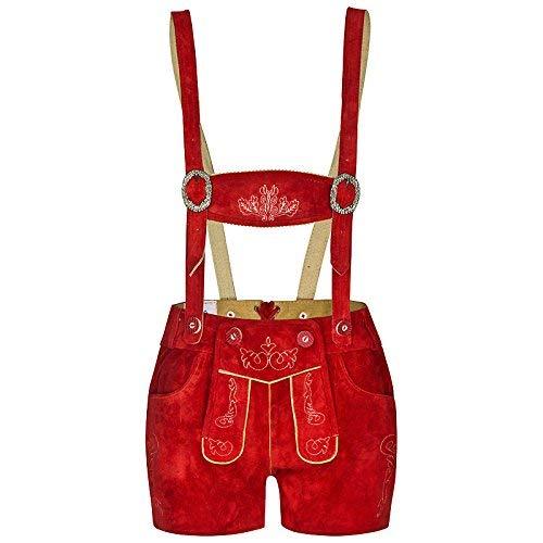 FROHSINN Damen Trachten Lederhose Kurz Bayern (Farbe: rot,Grösse 36: Bundweite: 80-83 cm