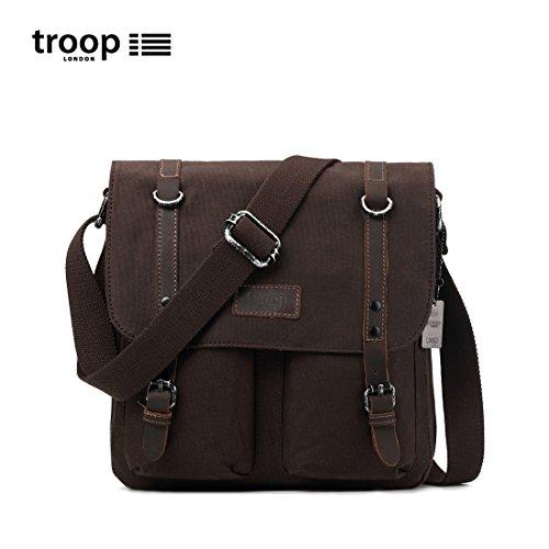 trp0429 Troop LONDON HERITAGE tela Borsa di pelle, tela cartella del cuoio , Borsa a tracolla Dark Brown