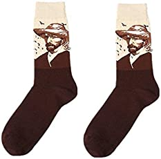 Ginie'sWishKart SOCKS retro art abstract oil painting series Van Gogh Cupid cotton tube socks Size 39-43 in Brown color for men