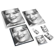 MERYL STREEP - Original Art Gift Set #js001 (Includes - A4 Canvas - A4 Print - Coaster - Fridge Magnet - Keyring - Mouse Mat - Sketch Card) #js003