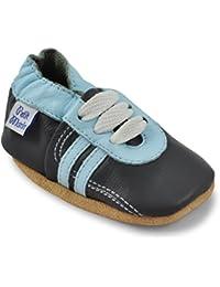 Petit Marin - Zapatos de Bebé – Zapatillas de Niño Niña – Patucos de Piel con Elástico para Bebé - Zapatitos Primeros Pasos - Pantuflas Infantiles 0-6 Meses 6-12 Meses 12-18 Meses 18-24 Meses