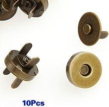 SODIAL(R) 10X Fornituras Cierre Metal Magnetico Hebilla Nuevo Bronce 14mm