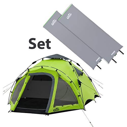 Qeedo Quick Oak 3 Camping Sekundenzelt, Quick-Up-System, inkl. 2 XL Isomatten