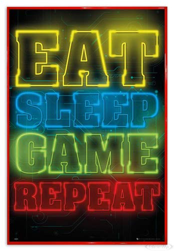 Close Up Gaming Poster Eat Sleep Game Repeat (94x63,5 cm) gerahmt in: Rahmen rot