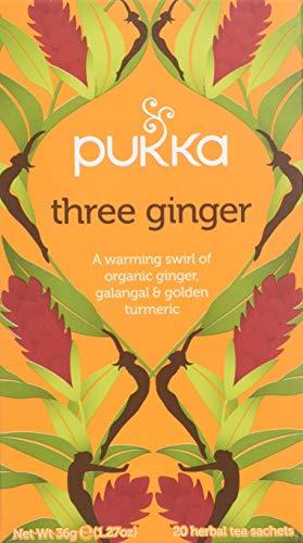 Pukka Three Ginger, Organic Herbal Tea with Galangal & Turmeric (4 Pack, 80 Tea bags)