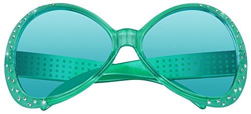 Brille Chill zum Disco Kostüm Grün - Partybrille mit Strass zum Retro 70er Jahre Kostüm