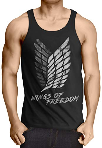 A.N.T. Wings of Freedom Herren Tank Top AOT Attack aufklärungstruppe on Titan, Größe:L - Tank-top Riesen