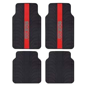 SPC SPC1913RS Lot de 4 tapis avec bande rouge en PVC/latex