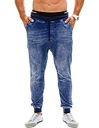0d477449 Luismes Men's Comfort Straight Leg Jeans Slim Fit Stretch Elastic Waist  Jeans Mens Stretch Denim Pant Distressed Freyed Slim Fit Pocket Jeans…