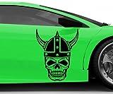 Pegatina de Coche Vikingo Calavera Calavera Guerrero Halloween pegatina coche 5O137 - Azul Real Mate, 70cm