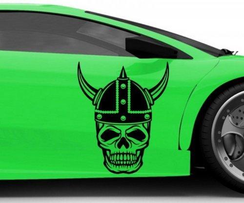 Autoaufkleber Wikinger Schädel Skull Krieger Halloween Aufkleber Auto 5O137, Farbe:Gelbgrün glanz;Hohe:70cm