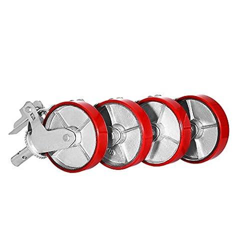 Succebuy Échafaudage Roulettes en polyuréthane 362,9kilogram Échafaudage Lot de 4roues Roulette d'échafaudage sur fer avec verrouillage de frein