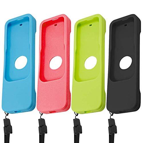 Finegood custodia protettiva per apple tv 4 k 4th 5th generation siri telecomandi, 2 pezzi in silicone antiscivolo copertura di protezione per tv telecomando 4 4 k - nero, blu, rosso, verde