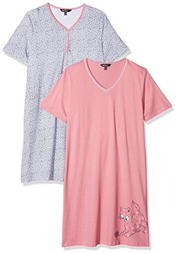 2 Pack Nachthemd (Ulla Popken Damen Nachthemd Big Shirt 2er Pack, Kätzchen, Mehrfarbig (Multicolor 90), 46)