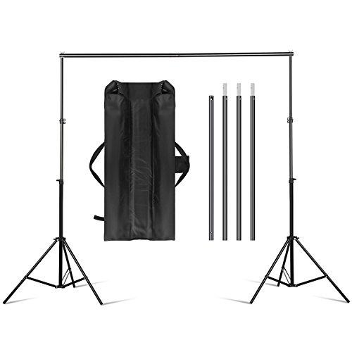 Amzdeal 2 x 3m Hintergrund Set hintergrundsystem inkl: 2 x Stative / 4 x Querstangen / 1 x Transporttasche Professionelles Hintergrundsystem für Fotografie