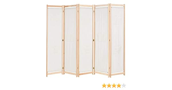 Vidaxl 5 Panel Room Divider Home Bedroom Folding Privacy Panel Screen Wall Partition Separator Paravent Section Brown 200x170x4cm Fabric Panel Screens