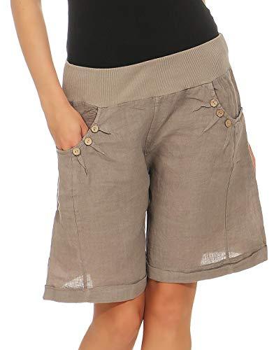 Malito Damen Bermuda aus Leinen | Shorts für den Strand | lässige Kurze Hose | Pants - Hotpants 6826 (Fango, XL) -