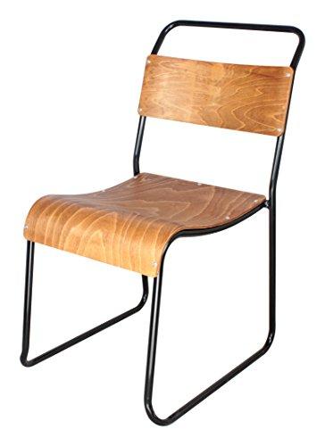 Decoración Vintage Helsinky - Silla, estructura en metal, asiento de madera, 44 x 57 x 83 cm, color negro