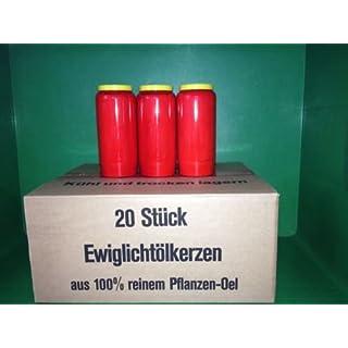 20 x Vegane Grabkerzen 100 % Pflanzen Öl Grablicht 7 Tage weiss / rot (rot)