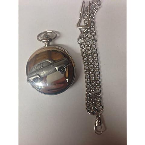 Saab 92ref224effetto peltro emblema auto argento lucido, regalo per uomo orologio da tasca al quarzo fob Made in Sheffield