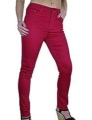 ICE (1478-3) Pantalon en Jeans Chinos Moulant Extensible Rouge Rose Brillant pour Femmes Grandes Tailles