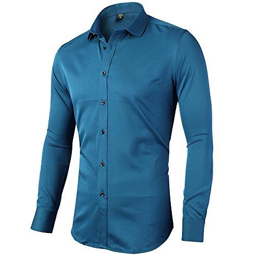 INFLATION INFlATION Herren Hemd aus Bambusfaser umweltfreudlich Elastisch Slim Fit für Freizeit Business Hochzeit Reine Farbe Hemd Langarm,DE XXS (Etikette 38),Blau