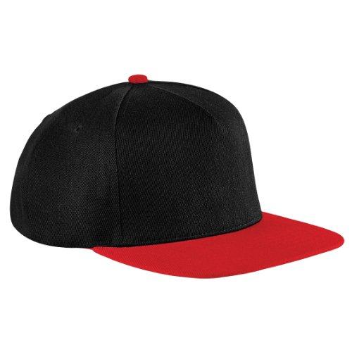 Beechfield - Casquette à visiÚre plate - Unisexe, - Black/Classic Red, Taille unique