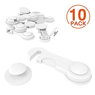 [10 Pack] Cupboard Child Locks, Canwn Child Drawer Safety Locks Strong Adhesive Baby Door Locks Safety Lock Latch for Drawer and Cabinet Door No Drilling or Tools(White)