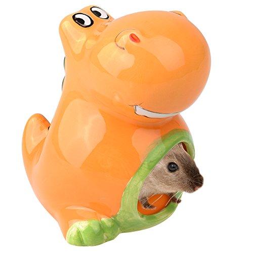 petacc Hamster Keramik Nest Hamster Höhle Hamster Haus mit Dinosaurier Muster Design, geeignet für Chinchilla, Vögel, Hamster und andere kleine Haustiere, orange