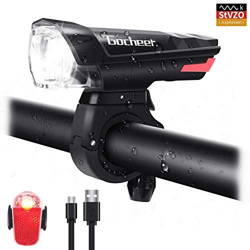 Gocheer Fahrradlicht Set LED, StVZO-Zulassung Fahrradbeleuchtung Wiederaufladbar IP64 Wasserdicht fahrradlichter Set Frontlicht Rücklicht Fahrradlampe Set 450 Lumen Licht für Fahrrad
