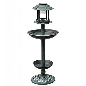Fontaine jardin bain d'oiseaux verte avec lampe solaire abreuvoir mangeoire
