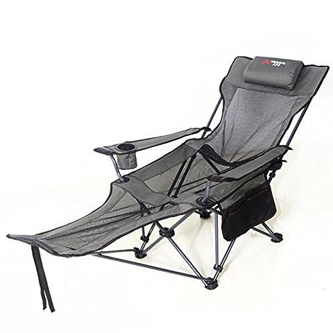 Chaise inclinable pliante en plein air chaise portative de pêche à l'arrière chaise de présidence de plage de barbecue -B