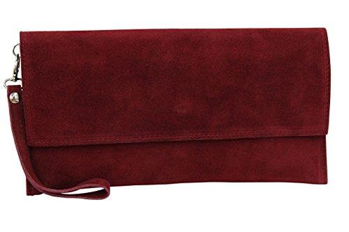 AMBRA Moda Damen Wildleder Clutch Handtasche veloursleder Tasche Handschlaufe WL811 (Bordeaux)