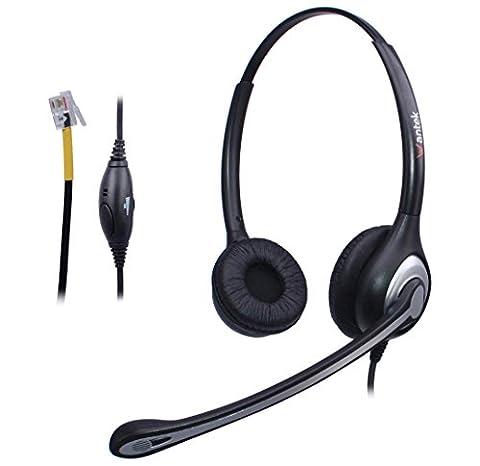 Casque Téléphone Fixe Binaural avec Micro Anti-bruit et Contrôle de Volume, WANTEK Écouteurs de Centre d'appel pour Yealink Avaya Cisco Grandstream Snom Panasonic KXT Téléphoniques IP(F602Y1)