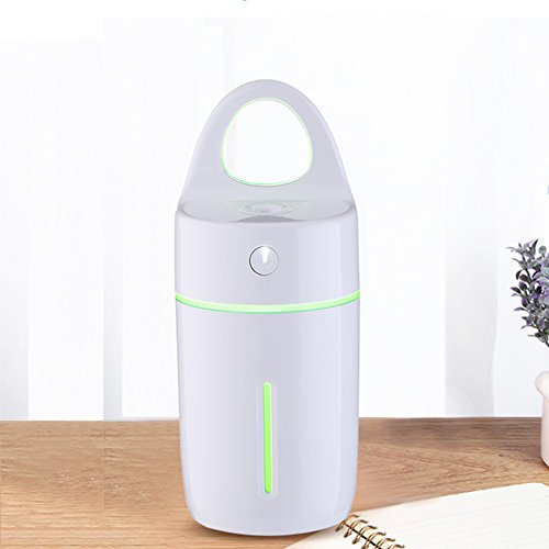 AKINO Portable Mini Humidificateur d'Air pour Voiture/Bureau / Chambre/Diffuseur d'Huile Essentielle Ultrasonique à Parfum, Humidificateur Portable USB Vaporisateur(blanc)