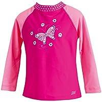 Zoggs Paradise Beach - Camiseta protectora del sol para niña (manga larga) rosa fucsia Talla:50,8 cm de pecho (20 pulgadas)/1 año