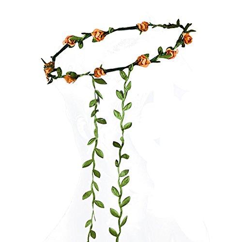 TOOGOO(R)Guirlande Florale Fille Femme Fete Mariage Boho Bande de Cheveux orange