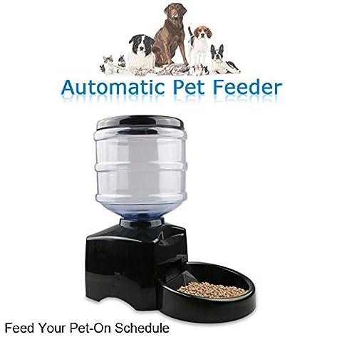 Chargeur automatique d'animaux, CONMING Alimentation automatique pour animaux Minuterie pour animaux de capacité moyenne Alimentation sèche Distributeur électronique Affichage numérique programmable Enregistrement vocal avec écran LCD pour chien Cat