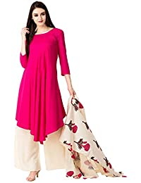 Dhanuki Casual Pink 3/4 Sleeves Asymmetrical Solid Kurta With Palazzo And Dupatta For Women