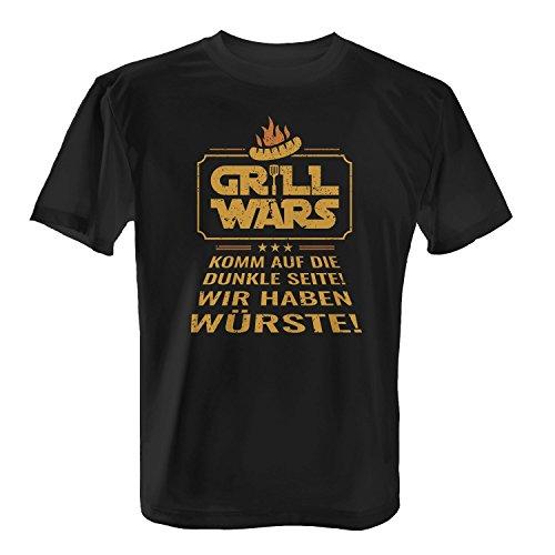 Fashionalarm Herren T-Shirt - GR!LL WARS - Komm auf die dunkle Seite, Wir haben Würste | Fun Shirt als Geburtstag Geschenk Idee für Grill Fansn Grill Schwarz