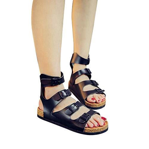 Buckle Mule Sandals (Beaulies Cork Sandals Women Ajustable Buckle Strap Ankle Strap Cork Sandals Ladies Flip Flops Flatform Espadrille Sandals Ankle Lace Up Shoes Size Slippers Sliders Mule Sandals (Black))