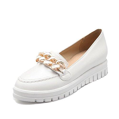 AgooLar Damen Rein Pu Leder Mittler Absatz Rund Schließen Zehe Ziehen Auf Pumps Schuhe Weiß