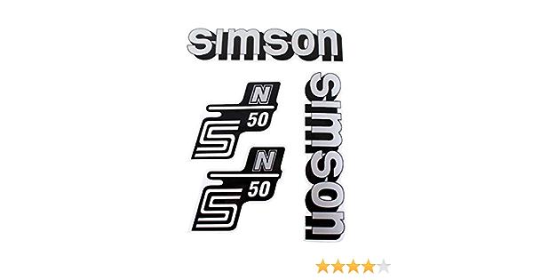 4 Teiliges Aufkleber Set Simson S50 N Silber Schwarz Für Tank Und Seitendeckel Auto