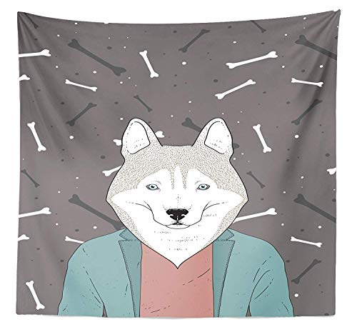 BAOQIN 60*80 Inches Unique Design Wonderful Prints Husky Tapestry Twin Size, Hipster Doodle Husky Wearing a Blazer Jacket on a Background with Dog Bones Pattern, Home Decorations for Living Room Dorm